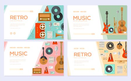 Retro equipment music set. Traditional melody brochure card set. festival template of flyear, web banner, ui header, enter site. Layout invintation modern slider Illustration