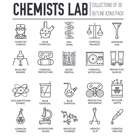 Set of chemical and medical laboratory thin line icons.