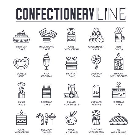 Set of confectionary thin line icons. pictograms. Vector Illustration