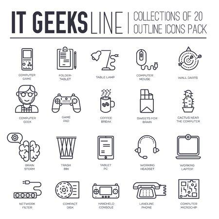 Conjunto de geeks de TI, gadgets, iconos de línea fina de dispositivos.