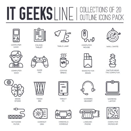 Set of IT geeks, gadgets, devices thin line icons.