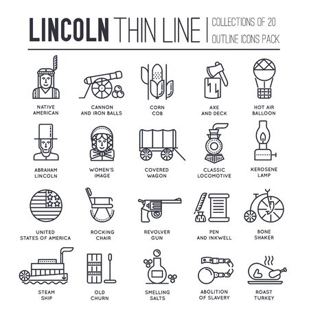 Set of President day in USA icons, pictograms.