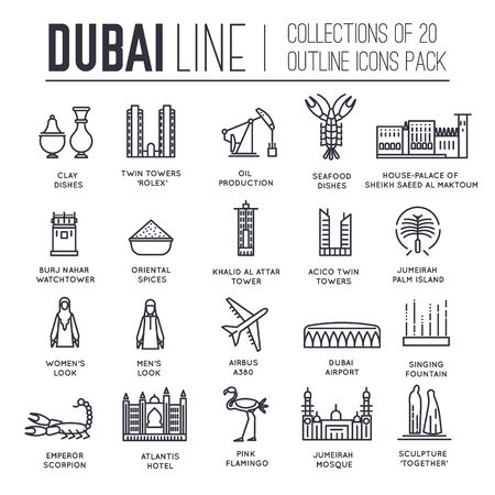Set of culture symbols of Dubai thin line icons