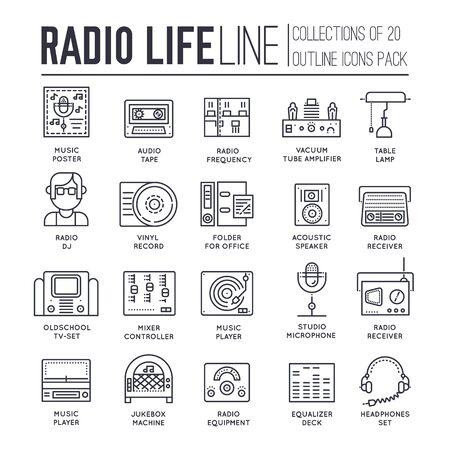 Set of radio life, sound devices thin line icons