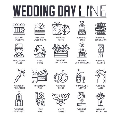 Set of wedding day celebration icons, pictograms.