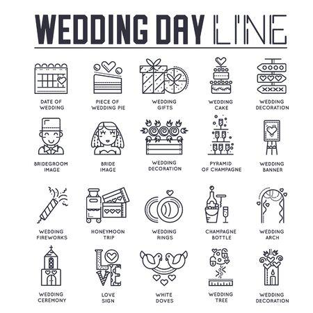 Set of wedding day celebration icons, pictograms.