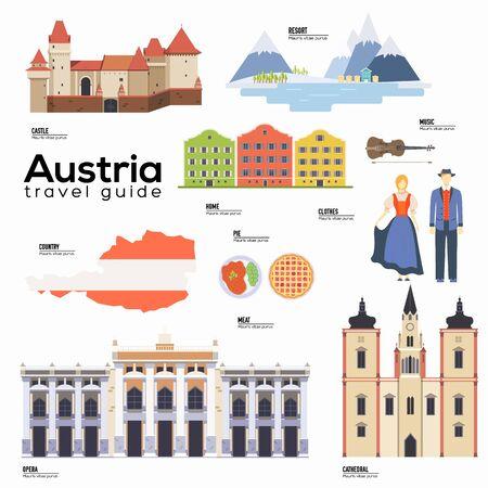 Österreich Reiseführer Vorlage. Satz österreichischer Wahrzeichen.