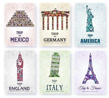 Silhouettes of sightseeing attractions of countries.
