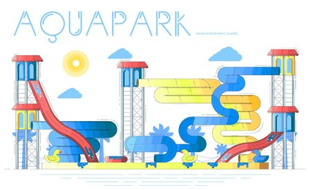 Summer aquapark with swimming pools, water slides.