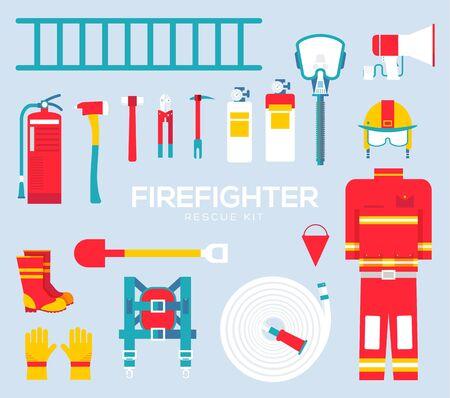 Feuerwehrausrüstung und Werkzeuge flache Symbole.