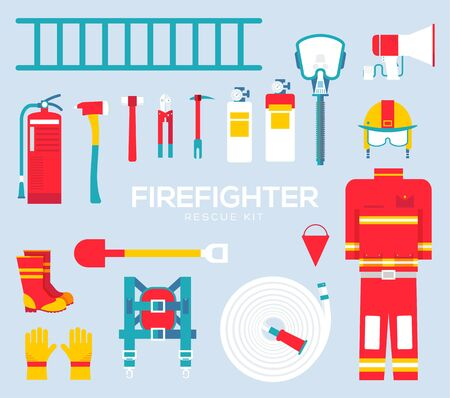 Firefighter equipment and tools flat icons.