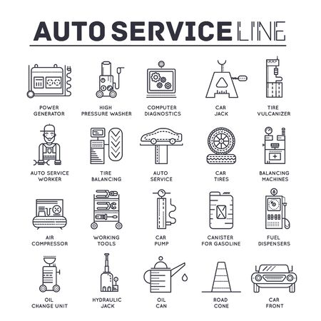 Set of auto service thin line icons, pictograms.