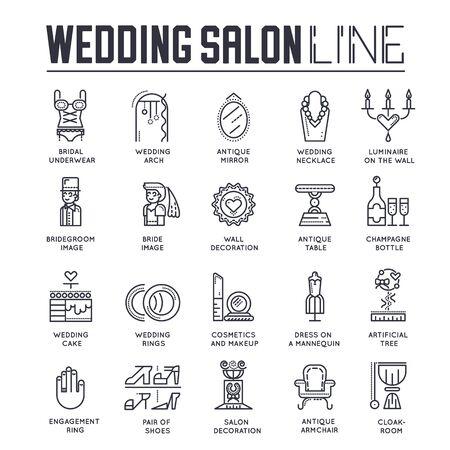 Set of wedding salon, preparation of marriage icons.