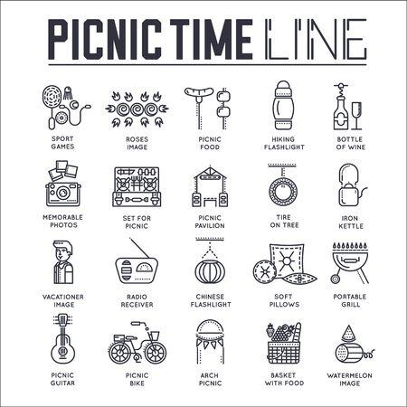 Set of picnic time, barbeque thin line icons. Ilustración de vector