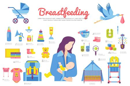 Set of breastfeeding and childhood objects icons. Standard-Bild - 127167382
