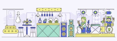 Rock club interior with musical equipment, bar counter, alcoholic drinks, tables, chairs, stage. Music band, guitarist and drummer having show or repetition. Vector flat illustration.