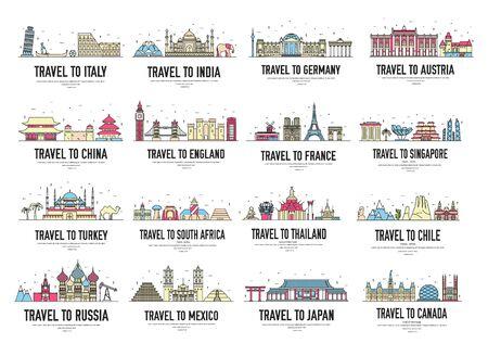 Ensemble de bannières avec des monuments d'Asie, d'Afrique, d'Europe.