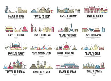 Set of banners with landmarks of Asia, Africa, Europe.