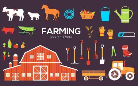 Set of farm equipment, tools, animals, plants.