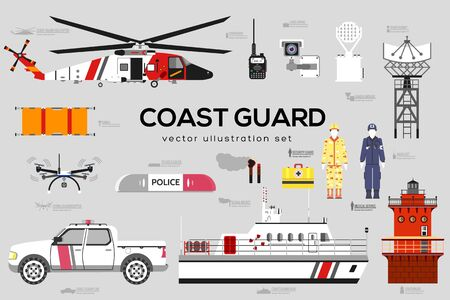 Coast guard with security equipment and team. Vetores