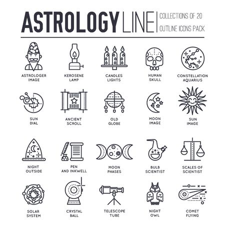 Set of astronomy and astrology thin line icons, pictograms.
