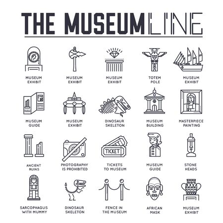 Set of museum building and objects thin line icons.