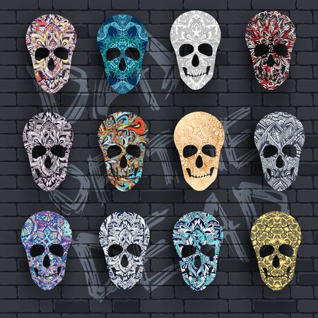 Set skull for the illustrations concept on day of the dead. Vector template colorful abstract decorative ornament design.