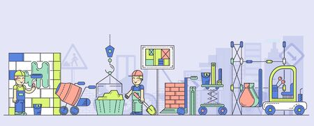Building process vector flat horizontal illustration. Construction activity of work crew in hardhats with dump cart, cement mixer, tools, crane, project execution plan, bricks, traffic sign.