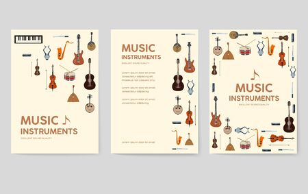 Music instruments vector brochure cards set. Audio tools template of flyear, magazines, poster, book cover, banners. Concert invitation concept background. Layout illustration modern page Banque d'images - 127775504