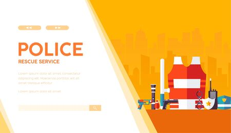 Police professional equipment, outfit: handcuffs, bulletproof vest, truncheon, badge, weapons, radioset, pistol, hat. Rescue service vector template on urban background. Place for text, copy space