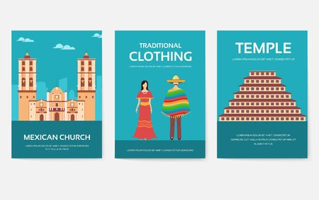 Set of Mexico country ornament travel tour concept. Asian traditional, magazine, book, poster, abstract, element. Vector decorative ethnic greeting card or invitation design Vettoriali