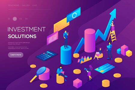 Analysis of sales, statistic grow data, accounting infographic illustration. Bank development economics strategy. Commerce solutions for investments, analysis. Economic deposits flat isometric concept Ilustrace