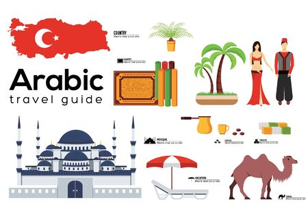 Arabic travel guide template. Set of turkish landmarks, cuisine, traditions flat icons, pictograms on white. Sightseeing attractions and cultural symbol vector elements for tourist infographic, web.