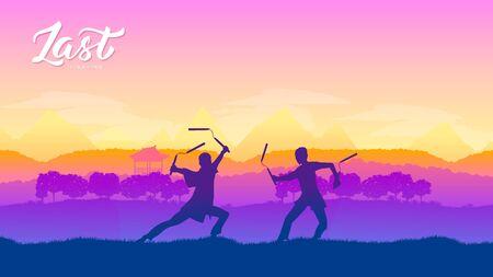 Kampfkünste verschiedener Nationen der Welt. Traditionelle Kämpfe mit Waffenhintergrund. Kampfstil Kampfvorlage Layout moderner Schieberegler Vektorgrafik