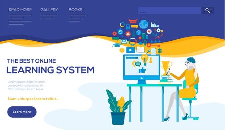 Distance learning system vector landing page template. Student flat character using social media networks. Online university, e-learning illustration. Video tutorials, courses web banner layout