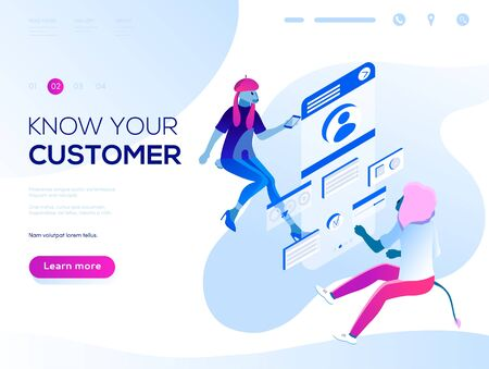 Data analysis and office situations. Isometric vector illustration. Landing page concept. People fly and build a customer profile in a mobile application.