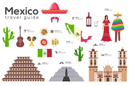 Mexico travel guide template. Set of mexicana landmarks, cuisine, traditions flat icons, pictograms on white. Sightseeing attractions and cultural symbol vector elements for tourist infographic, web. Ilustração