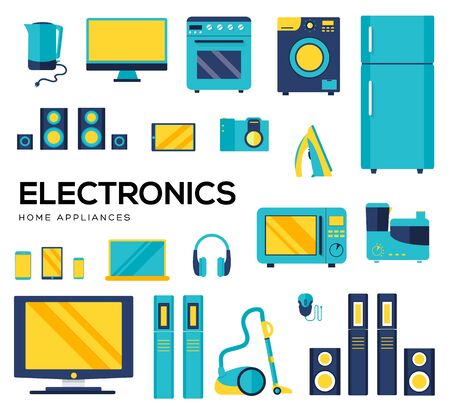 Set of household appliances and electronic devices icons. Иллюстрация
