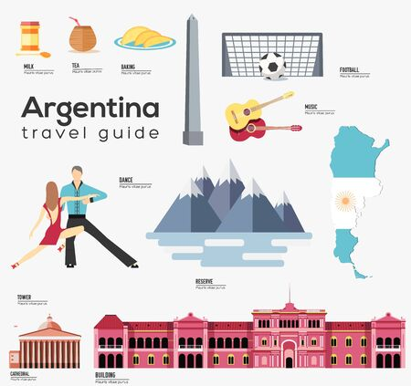 Argentina travel guide template. Set of landmarks. Иллюстрация