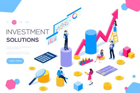 Analysis of sales, statistic grow data, accounting infographic illustration. Bank development economics strategy. Commerce solutions for investments, analysis. Economic deposits flat isometric concept Ilustracja