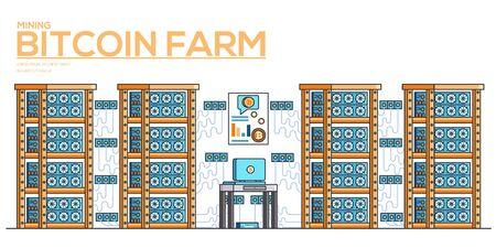 Server room with equipment for mining crypto currency. Modern computer technologies horizontal banner. Digital money market. Bitcoin farm vector flat illustration. Data storage concept. Иллюстрация