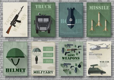 Cards of military equipment cards. Army template of flyer, Magazines, posters, book concept. Special forces items on grunge background. Layout illustrations pages with typography text Ilustração