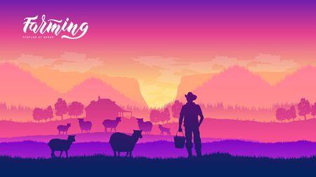 Farming life brochure card Çizim