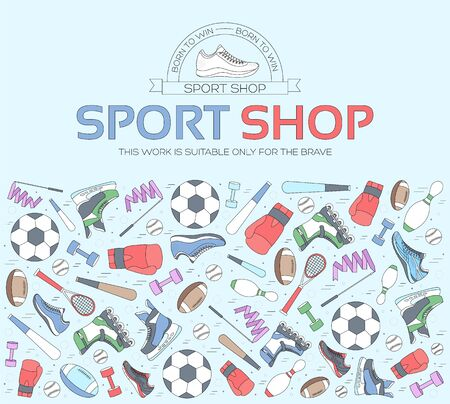 Circular concept of sports equipment background. life style tools with gym device, equipment and items. Training apparatus on a flat thin lines design. Vector illustration workout concept icons set Standard-Bild - 130569950