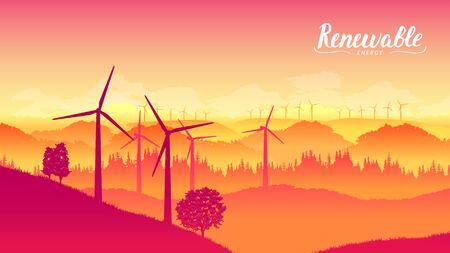 Windmill farm on a beautiful bright day Netherlands Flevoland Illusztráció