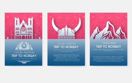 Set of Norway country ornament illustration concept. Art traditional, book, poster, abstract, ottoman motifs, element. Vector decorative ethnic greeting card or invitation design background.