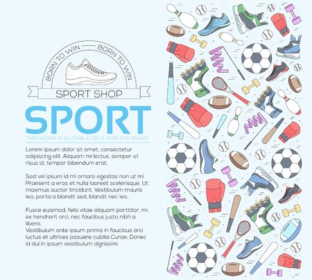 Circular concept of sports equipment background. life style tools with gym device, equipment and items. Training apparatus on a flat thin lines design. Vector illustration workout concept icons set Standard-Bild - 130569585