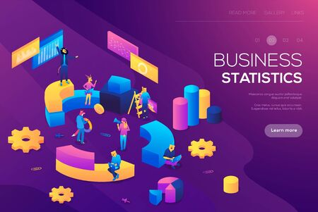 Flat isometric infographics for banner or business