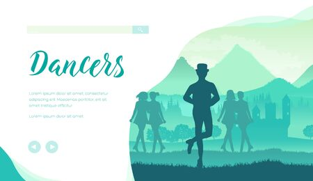 Silhouette of hatted man and girls performing irish traditional dance. Step dancers of Ireland in festival, competition. Treble reel, jig dance vector design for website, landing page. Place for text Ilustrace