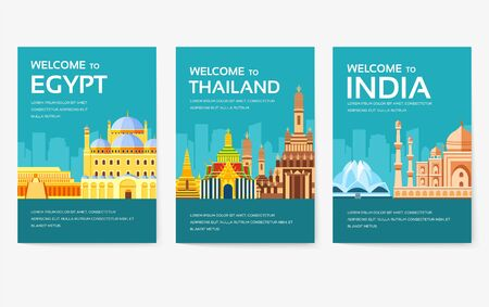 Country of Egypt, Austria, Germany, India, Russia, Thailand, Japan, Italy card set. Travel of the world of flyer, magazines, poster, book cover, banner. Layout infographic template illustration page  イラスト・ベクター素材